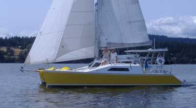 Gypsy budget ocean cruising catamaran by Woods Designs