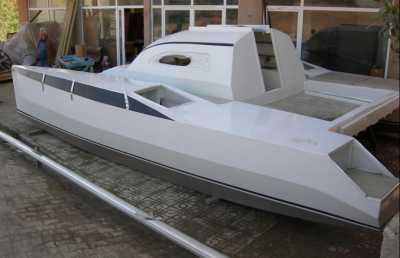 Sango 25' trailable catamaran by Woods Designs