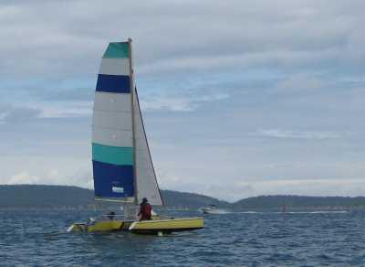 Sailing Catamarans - Strike 18 trimaran using a 16ft beach cat for
